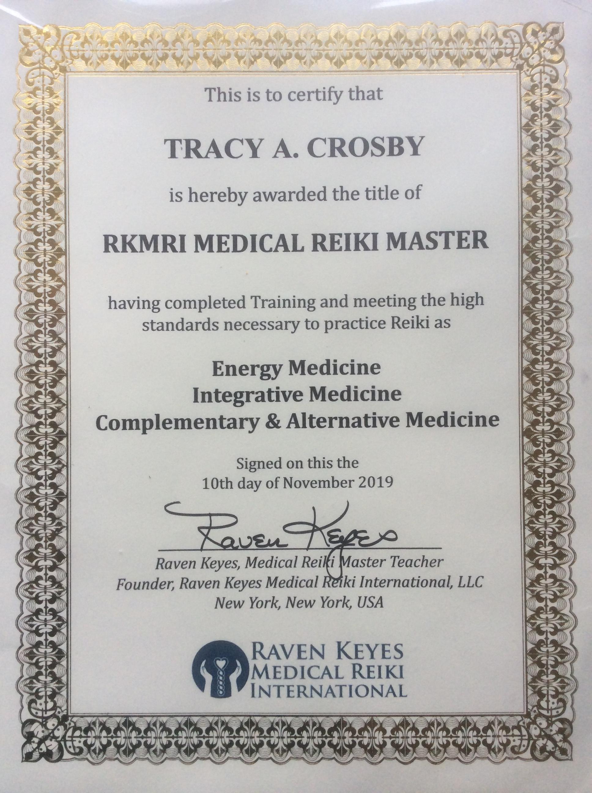 TACROSBY RKMRI Medical Reiki Certification